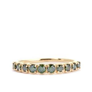 Green Diamond Ring  in 9K Gold 0.50ct