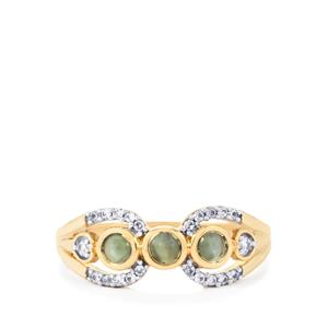 Cats Eye Alexandrite & White Zircon 9K Gold Ring ATGW 0.67cts