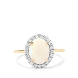 Coober Pedy Opal & Argyle Diamond 9K Gold Ring ATGW 1.64cts