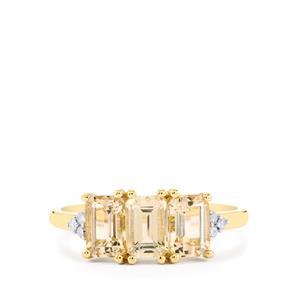 Champagne Danburite & Diamond 9K Gold Ring ATGW 1.74cts