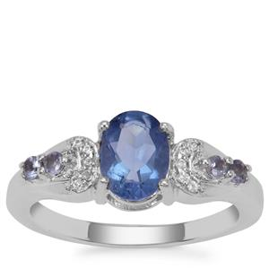 Colour Change Fluorite, Tanzanite Ring with White Zircon in Sterling Silver 1.72cts