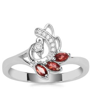 Rajasthan Garnet Peacock Ring with White Zircon in Sterling Silver 0.36ct