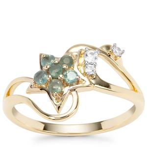 Alexandrite Star Ring with White Zircon in 9K Gold 0.34ct