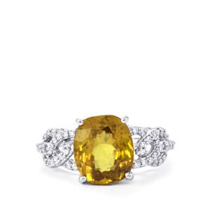 Ambilobe Sphene Ring with Diamond in 18k White Gold 5.74cts
