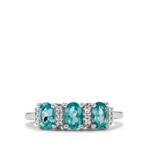 Madagascan Blue Apatite & White Topaz Sterling Silver Ring ATGW 1.31cts
