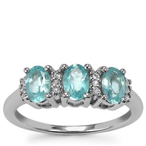 Madagascan Blue Apatite Ring with White Topaz in Sterling Silver 1.31cts