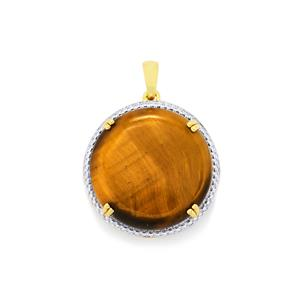 Tiger's Eye Pendant in Gold Plated Sterling Silver 15.07cts