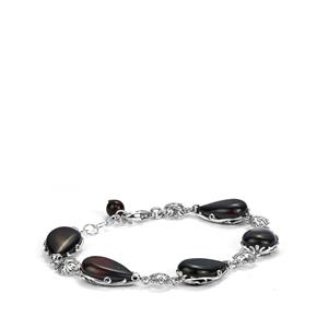 Baltic Cherry Amber Bracelet in Sterling Silver