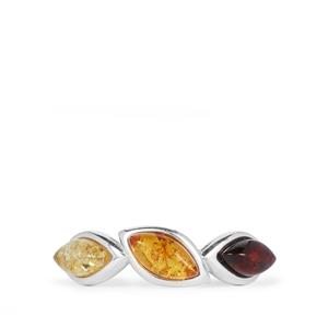 Baltic Lemon, Cognac & Cherrry Amber (4x8mm) Ring in Sterling Silver