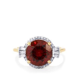 Zanzibar Zircon Ring with Diamond in 18K Gold 5.44cts