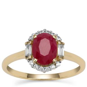 Burmese Ruby Ring with White Zircon in 9K Gold 1.85cts