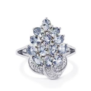 Bi-Color Tanzanite & Diamond Sterling Silver Ring ATGW 2.33cts