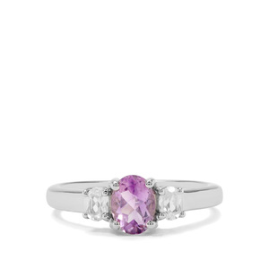 Moroccan Amethyst & White Zircon Sterling Silver Ring ATGW 0.95cts