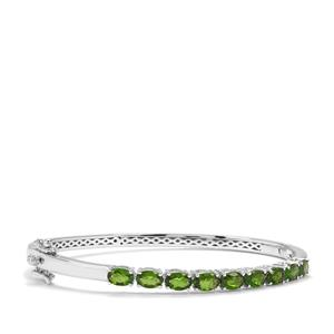 Chrome Diopside Oval Bangle in Sterling Silver 4.42cts