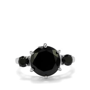 6ct Black Spinel Sterling Silver Ring