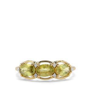 Ambilobe Sphene & Diamond 9K Gold Ring ATGW 1.75cts