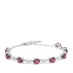 Tocantin Garnet Bracelet with White Zircon in Sterling Silver 8.28cts