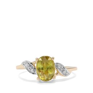 Ambilobe Sphene Ring with Diamond in 10k Gold 1.52cts