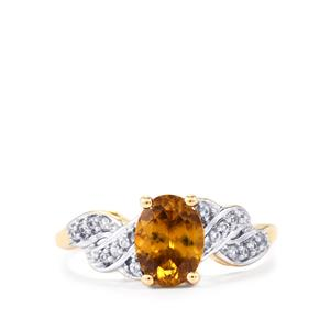Morafeno Sphene Ring with White Sapphire in 9K Gold 1.41cts