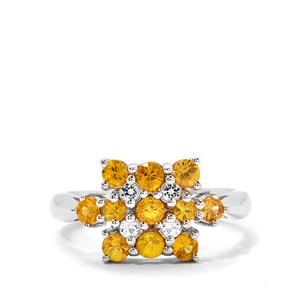 Songea Yellow Sapphire & White Topaz Sterling Silver Ring ATGW 1.27cts