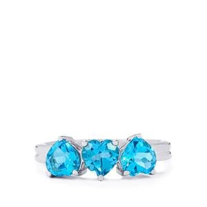 2.27ct Swiss Blue Topaz Sterling Silver Ring