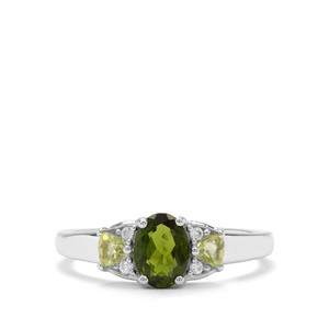 Chrome Diopside, Changbai Peridot & White Zircon Sterling Silver Ring ATGW 1.09cts