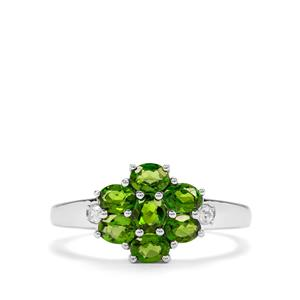 Chrome Diopside & White Zircon Sterling Silver Ring ATGW 1.35cts