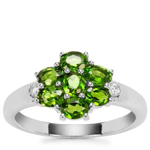 Chrome Diopside Ring with White Zircon in Sterling Silver 1.35cts