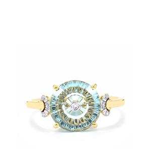 Lehrer TorusRing Sky Blue Topaz Ring with Diamond in 10k Gold 3.35cts