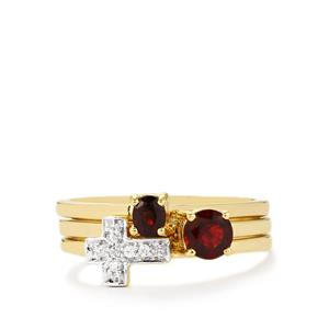 Burmese Red Spinel Set of 3 Stacker Rings with White Zircon in 10k Gold 0.67cts