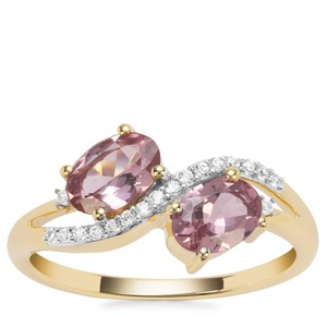 Natural Hot Pink Spinel Ring with White Zircon in 9K Gold 1.37cts