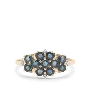 Nigerian Blue Sapphire Ring with White Zircon in 9K Gold 1.30cts