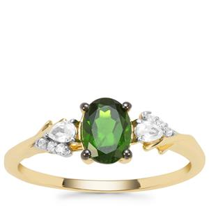 Chrome Diopside & White Zircon 9K Gold Ring ATGW 1.08cts