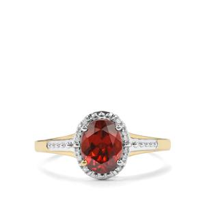 Zanzibar Zircon Ring with Diamond in 10k Gold 2.09cts