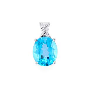Swiss Blue Topaz & Diamond 9K White Gold Pendant ATGW 6.21cts