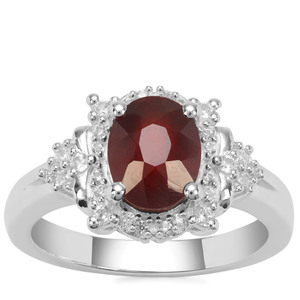 Gooseberry Grossular Garnet Ring with White Zircon in Sterling Silver 2.52cts