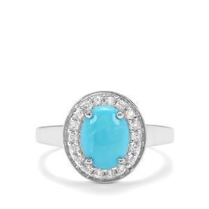 Sleeping Beauty Turquoise & White Zircon Sterling Silver Ring ATGW 1.92cts
