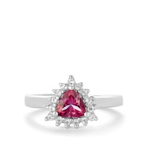 Mystic Pink Topaz Ring with White Topaz in Sterling Silver 1.13cts