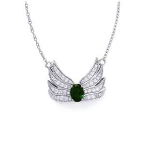 Chrome Diopside & White Zircon Sterling Silver Necklace ATGW 1.80cts