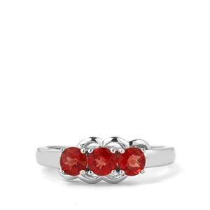 0.71ct Mongolian Red Andesine Sterling Silver Ring