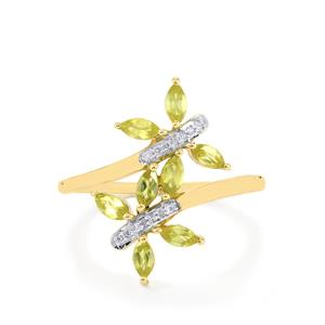 Ambilobe Sphene Ring with Diamond in 10k Gold 0.74cts