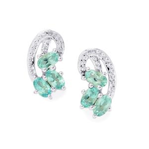 Madagascan Blue Apatite & White Topaz Sterling Silver Earrings ATGW 1.53cts