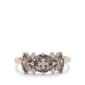 Miova Loko Garnet Ring with White Zircon in 9K Gold 1.15cts