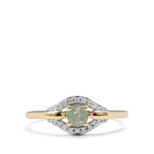 Alexandrite Ring with White Zircon in 10k Gold 0.47cts