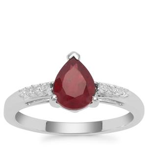 Malagasy Ruby Ring with White Zircon in Sterling Silver 1.74cts