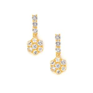 3.02cts Sri Lankan White Sapphire Midas Earrings