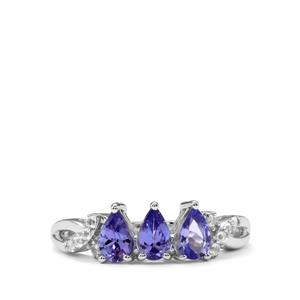 Tanzanite Ring with White Topaz in Sterling Silver 1.08cts
