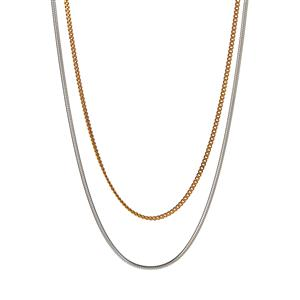 Sterling Silver Tempo Round Snake Chain and Gold Tone Sterling Silver Curb Chain 4.40g