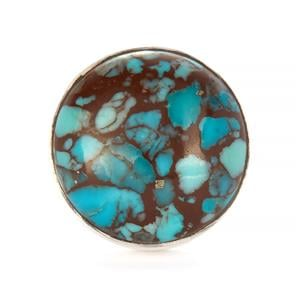Egyptian Turquoise Ring in Sterling Silver 11.87cts