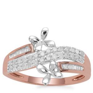 Diamond Ring in 9K Rose Gold With 18K White Gold Flower 0.33ct